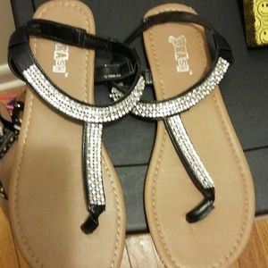 Black/silver Gladiator sandals